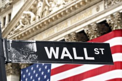 September 2008 New York NY; New York Stock Exchange with Wall street sign in front